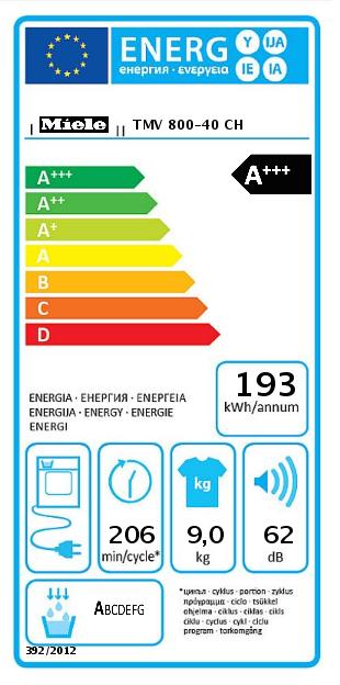 EU-Energielabel für Wäschetrockner am Beispiel des Miele TMV 800-40 CH