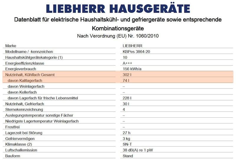 Datenblatt nach Verordnung (EU) Nr. 1060/2010 für Kühlschränke am Beispiel des Liebherr KBPes 3864