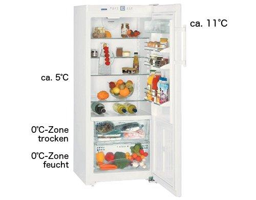 Temperaturen im Kühlschrank mit dynamischer Kühlung und Kaltlagerfach