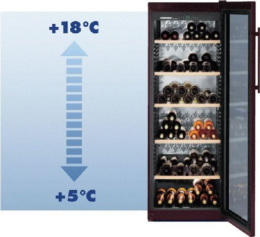 Temperaturschichtung im Weintemperierschrank