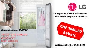 1000.- Franken Rabatt bis zum 29. März 2020 auf den LG Styler!